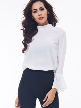 Ericdress Turtle Neck Petal Sleeve Blouse