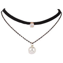 Ericdress Multilayer Pearl Pendant Choker Necklace