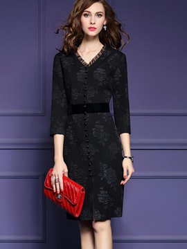 Ericdress V-Neck Three-Quarter Sleeve Little Black Dress