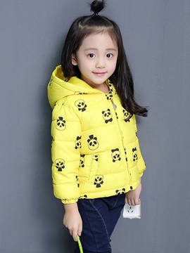 Ericdress Pandas Printed Hooded Down Jacket Girls Outerwear