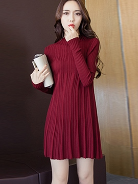 Ericdress Plain Stand Collar A-Line Sweater Dress