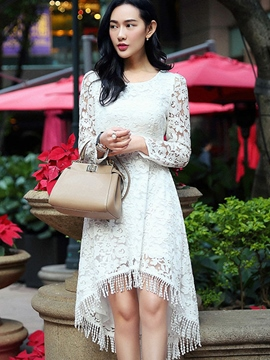 Ericdress Asymmetrical Long Sleeve tassels Lace Dress