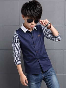 Ericdress Cotton Strips Patch Metal Button Boys Top
