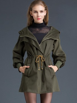 Ericdress Solid Color Zipper Lace-Up Slim Trench Coat