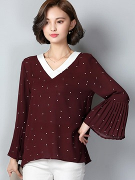 Ericdress Plus Size Polka Dots Down T-Shirt