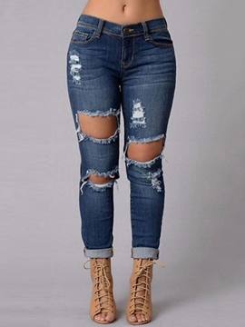 Ericdress Euro-American Style Skinny Hole Jeans