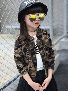 Ericdress Camo Drape-Neck Pocket Metal Button Girls Outerwear