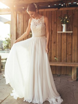 Ericdress Charming Appliques Illusion Back Chiffon Beach Wedding Dress