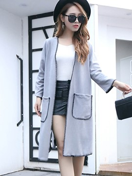 Ericdress Color Block Straight Pocket Trench Coat