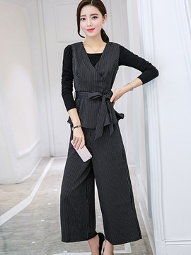 Ericdress Stripe Three Piece Suit