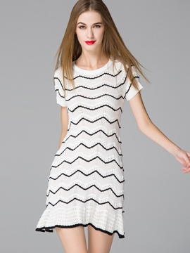 Ericdress A-Line Short Sleeve Sweater Dress