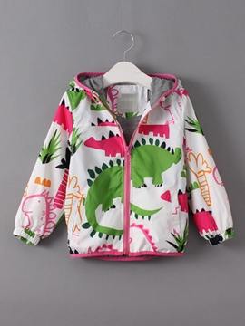 Ericdres Colored Printing Hooded Girls Outerwear
