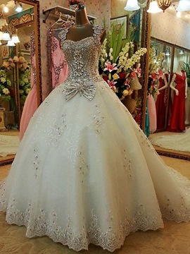 Ericdress Gorgeous Beaded Straps Ball Gown Wedding Dress