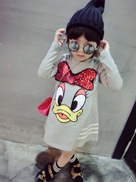Ericdress Sequin Embroidery Cartoon Strip Girls Dress