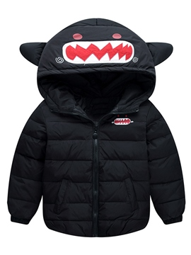 Ericdress Solid Color Cartoon Hooded Down Jacket Boys&Girls Outerwear
