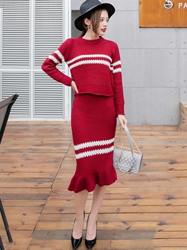 Ericdress Fashion Stripe Mermaid Skirt Suit