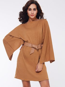 Ericdress Lace-Up Batwing Sleeve Solid Color Casual Dress