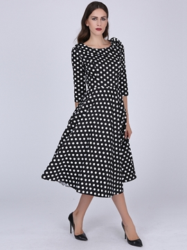 Ericdress Polka Dots Patchwork Expansion Half Sleeve Casual Dress