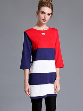 Ericdress Color Block Knitted Casual Dress