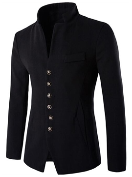 Ericdress Vogue V-Neck Single-Breasted Slim Men's Woolen Jacket