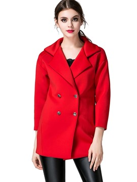 Ericdress Solid Color Straight Double-Breasted Coat