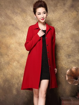 Ericdress Solid Color Single-Breasted Slim Simple Trench Coat