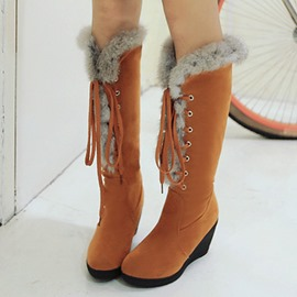 Ericdress Warm Furry Lace up Wedge Heel Knee High Boots