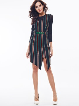 Ericdress Stripe Split Asymmetric Sheath Dress
