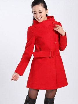Ericdress Solid Color Slim Buttons Asymmetric Coat