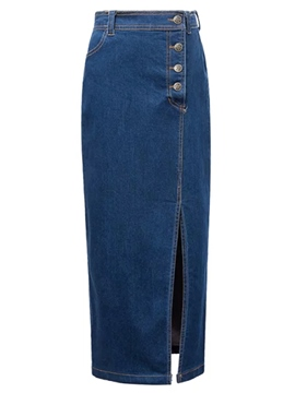 Ericdress Unique Split Denim Skirt