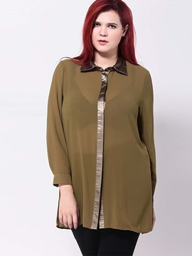 Ericdress Plus Size Single-Breasted Blouse