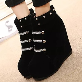 Ericdress Rhinestone&rivets Wedge Heel Ankle Boots