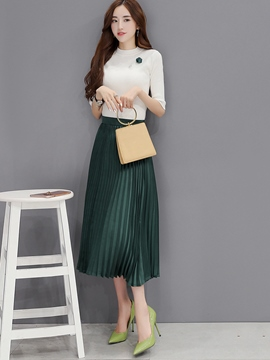 Ericdress Sweet Pleated Skirt Suit