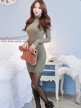 Ericdress Solid Color Turtleneck Slim Long Sleeve Sweater Dress