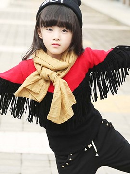 Ericdress Color Block Tassel Knitting Girls Top