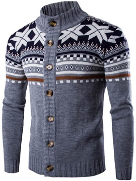 Ericdress Single-Breasted Vogue Jacquard Men's Knitwear
