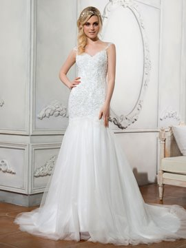 Ericdress Beautiful Sweetheart Appliques Beaded Illusion Backless Mermaid Wedding Dress