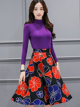 Ericdress Ladylike Floral Print Skirt Suit