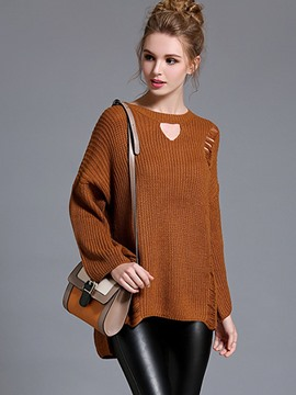 Ericdress Loose Solid Color Hole Ripped Knitwear