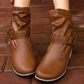 Ericdress Cool PU Buckles Ankle Boots