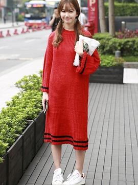 Ericdress Loose Round Neck Sweater Dress