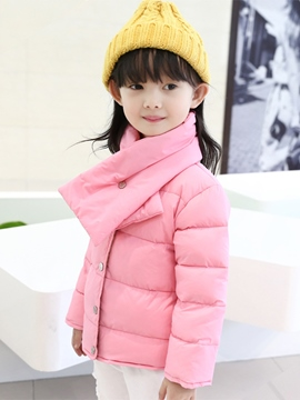 Ericdress Neckerchief Metal Stud-Snap Down Coat Girls Outerwear