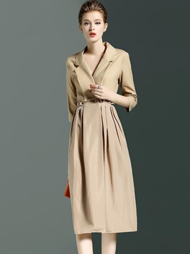 Ericdress European Solid Color Slim Pleated Trench Coat