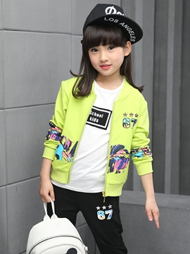 Ericdress Colored Printing Zipper Cardigan Two-Piece Girls Outfit