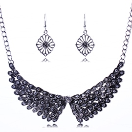 Ericdress Angel Wings Diamante Jewelry Set