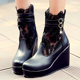 Ericdress Lace Patchwork Wedge Heel Ankle Boots