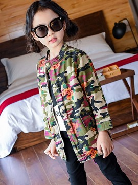 Ericdress Cowl-Neck Camo Metal Stud-Snap Girls Outerwear