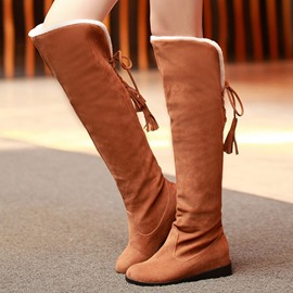 Ericdress Pretty Suede Tassels Knee High Boots
