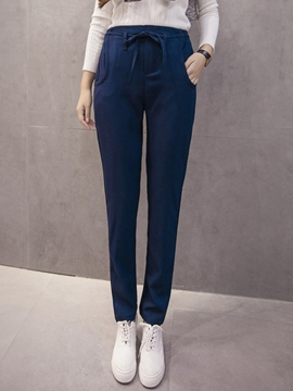 Ericdress Straight Lace-Up Casual Pants