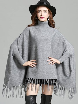 Ericdress Turtle Neck Tassel Plain Knitwear